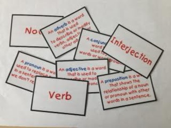 Parts of speech flashcards (colored)