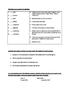 Parts of speech practice test