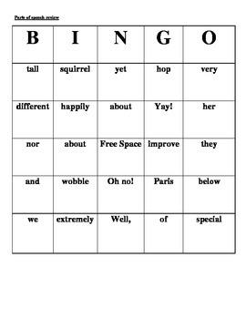 Parts of speech review bingo
