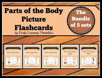 Parts of the Body BUNDLE (set I, II, III, IV, V) Picture Flashcards
