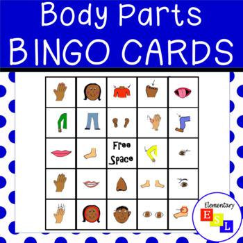 Parts of the Body Bingo Boards for ESL/ESOL/ELL/EFL ...