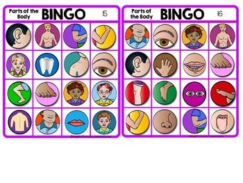 Parts of the Body Bingo Game