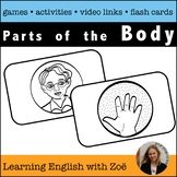 Body Flash Cards, Activities, and Games for ELL and ESL