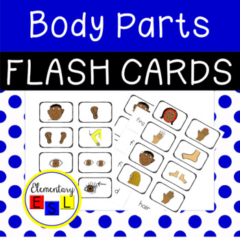 Parts of the Body Vocabulary Flash Cards for ESL/ESOL/ELL Students (Printable)