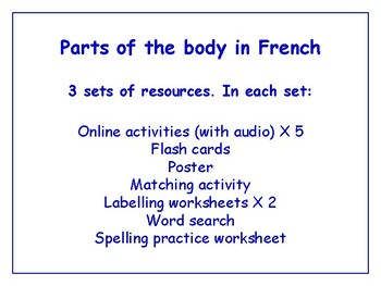 Parts of the Body in French Worksheets, Games & More (with audio) Bundle