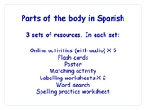 Parts of the Body in Spanish Worksheets, Games & More (with audio) Bundle