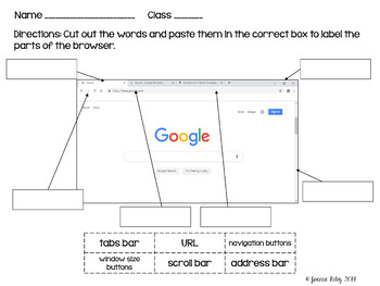 Parts of the Browser Worksheets & Digital for Google Drive/Classroom!