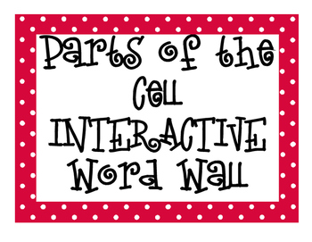 Parts of the Cell INTERACTIVE Word Wall