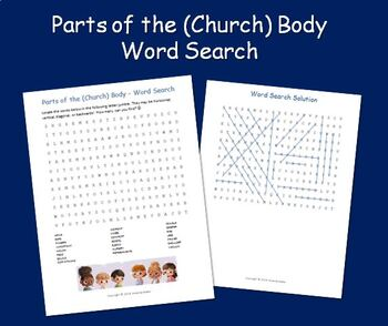 Parts of the (Church) Body - Word Search