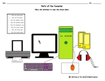 Parts of the Computer  Coloring Page