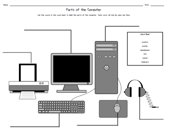 Parts Of The  puter Worksheet on laptop hardware diagram