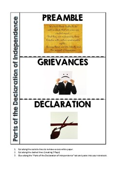 Parts of the Declaration of Independence Foldable (PDF)