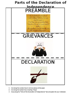 Parts of the Declaration of Independence Foldable (EDITABLE)