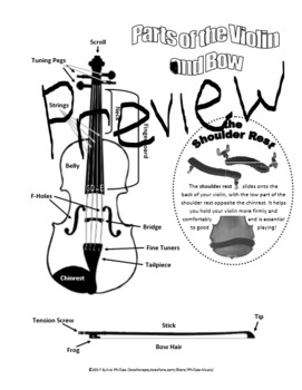 Parts of the Violin and Bow Diagram