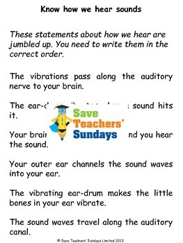 Parts of the ear and How we hear Lesson plan and Worksheet