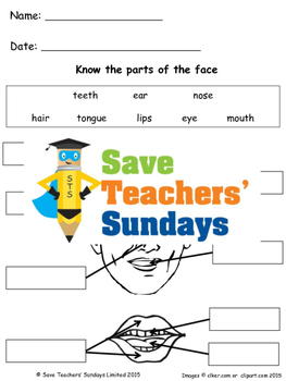 Parts of the face lesson plan and worksheets (2 levels of difficulty)