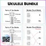 Parts of the ukulele and chord match music mini lessons bundle bite sized music
