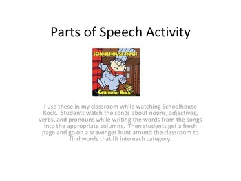 Partsof Speech Activity - Schoolhouse Rock