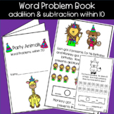 Party Animal Addition and Subtraction Word Problems within 20 Mini Book!