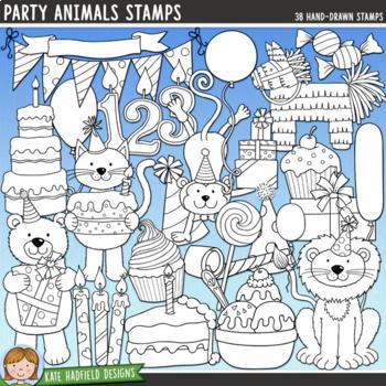 "Animal Birthday Party Clip Art: ""Party Animals"""
