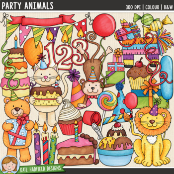 "Animal Birthday Party Clip Art: ""Party Animals"""