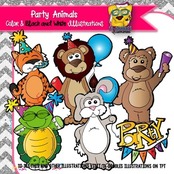 Party Animals Commercial Use Clipart