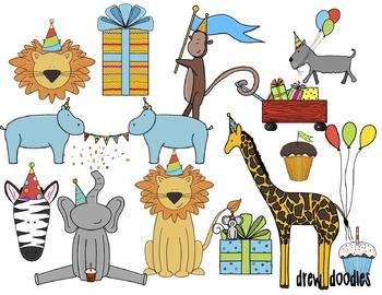 Party Animals Digital Clip Art Set
