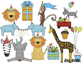 Party Animals Digital Clip Art Set
