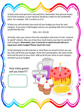Birthday Party Budget: Financial Literacy Percent & Decimals Project