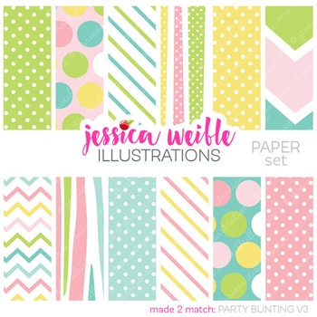 Party Bunting V3 Matching Digital Papers, Pastel Spring Papers