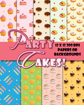 Party Cakes Papers & Patterns • Decorations or Cards• 12 x 12 PDF, PNG 300 DPI