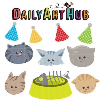 Party Cat Heads Clip Art - Great for Art Class Projects!