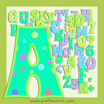 Party Coloured Alphabet Letters Digital Clipart - Coloured