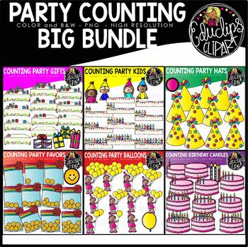 Party Counting Clipart Big Bundle {Educlips Clipart}