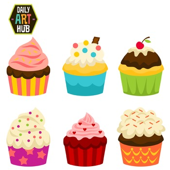 Party Cup Cakes Clip Art - Great for Art Class Projects!