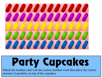 Party Cupcakes Counting 0 -10 Mats - Learning Center Kit