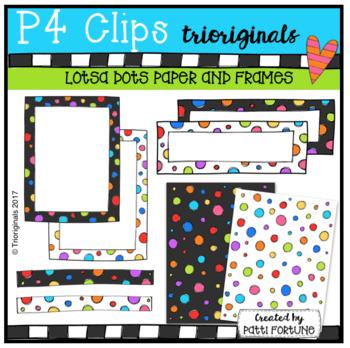 LOTSA DOTS Paper and Frames {P4 Clips Trioriginals Digital Clip Art}