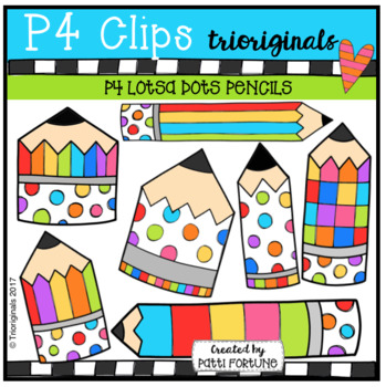 LOTSA DOTS Pencils {P4 Clips Trioriginals Digital Clip Art}