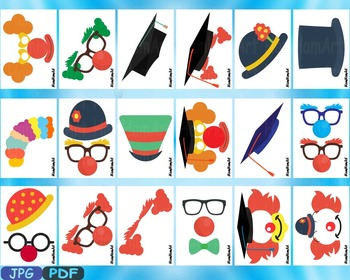 Party Graduation Circus Photo Booth Props JPG PDF Silhouet