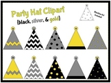 Party Hats-Black, Gold, Silver {clipart}