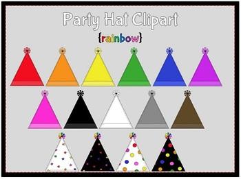 Party Hats-Rainbow {clipart}