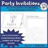 Party Invitations: A NO PREP Artic + Reading Comprehension Activity /s,l,r/