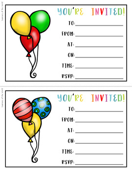 Party Invitations (Birthday Party, Children's Party, Class Party)