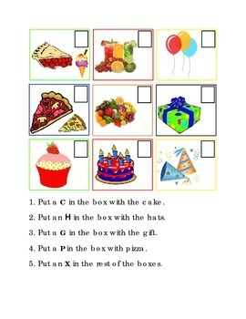 Party Items Following Directions Comprehension Emergent Reader Literacy