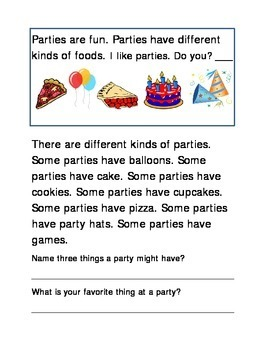 Party Items Following Directions Comprehension Emergent Re