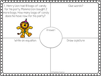 Party Lions Mini Bundle: One Step Word Problems