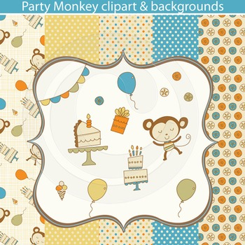 Party Monkey Clipart and Backgrounds
