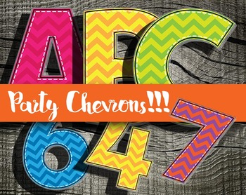 """Party Party Chevrons!!! Alphabet -  300 DPI - PDF/ PNGs - 3.5"""" High - Vector"""