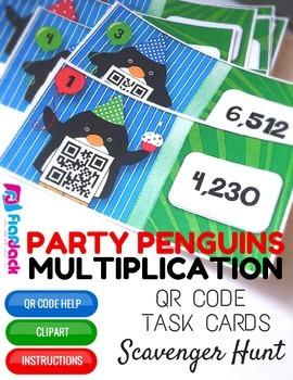 Party Penguins Multiplication QR Code Task Card Scavenger Hunt