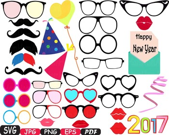 Party Photo Booth Prop Emoji Props Happy new year SVG face Clip Art -4P